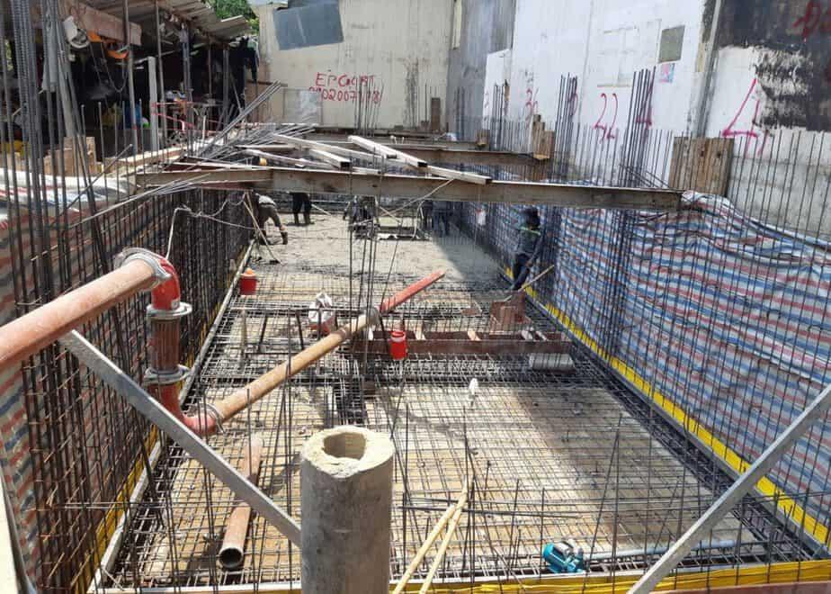 Đổ bê tông sàn tầng hầm