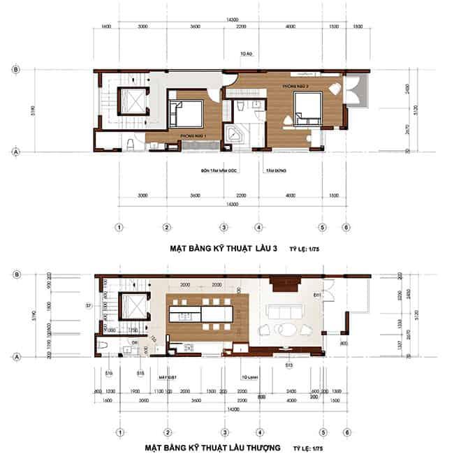 bố trí mặt bằng nhà 2 mặt tiền kết hợp cho thuê kinh doanh