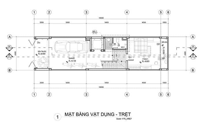 mặt bằng tầng trệt nhà phố 5x18m