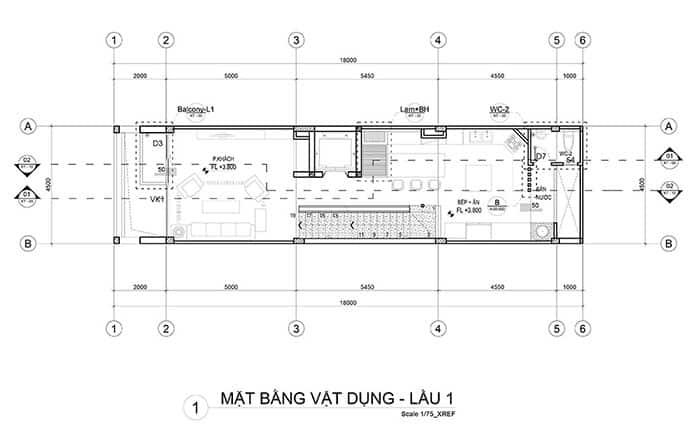 Mặt bằng lầu 1 nhà phố 5x18m