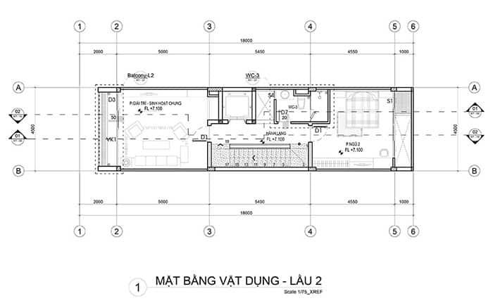 Mặt bằng lầu 2 nhà phố 5x18m