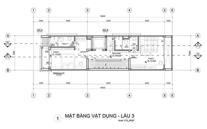 Mặt bằng lầu 3 nhà phố 5x18m