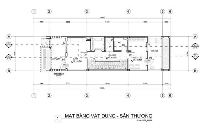 Mặt bang lầu thượng nhà phố 5x18m