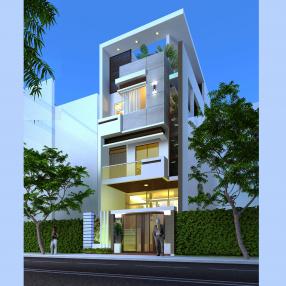 Thiết kế nhà phố mặt tiền 6m tại KDC Trung sơn-Bình chánh