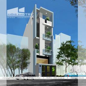 Thiết kế nhà phố 5 tầng mặt tiền 4m tại quận 5 tphcm